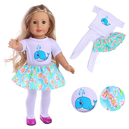 (Livoty Doll Clothes Outfits Set T-Shirt Skirt Leggings Three-Piece Suit Accessories for 18 inch American Toy Girl Doll Gift for Girls (Blue))