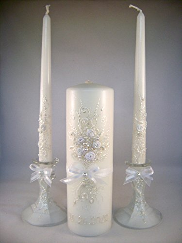 GORGEOUS Colored Wedding unity candle set with Mother/'s candles FREE shipping!