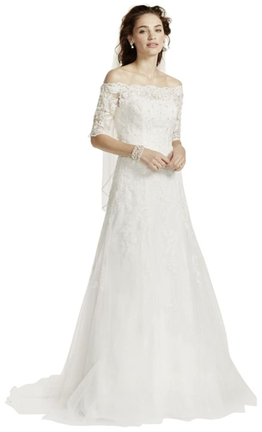 Davids Bridal Sample Off The Shoulder Lace Wedding Dress With
