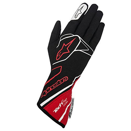Alpinestars 3550217-132-2XL Tech 1-Z Gloves, Black/Red/White, Size 2XL, SFI 3.3 Level 5/FIA 8856-2