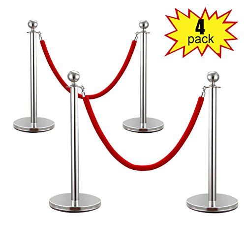 JAXPETY 2 Sets Round Top Polished Brass Stanchion Posts Queue Barrier, Pack of 4 Posts with Red Velvet Ropes,Silver