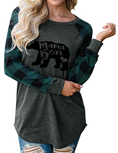 - Dresswel Womens Casual Plaid Long Sleeve Mama Bear Letter Print T-Shirts Tops