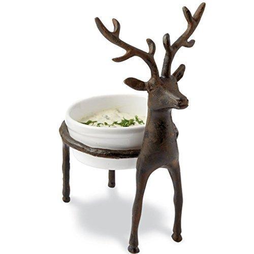 Mud Pie Cast Iron & Ceramic Lodge Reindeer Mini Dip Cup, 3.5 inch x 7 inch