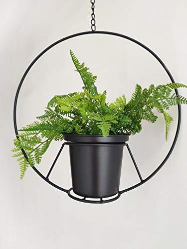 - RISEON Black Hanging Flower Plant Pot,Black Metal Basket Planter Holder,Modern Plant Hanger Metal Hanging Planter for Indoor Outdoor Home Decor (Black)