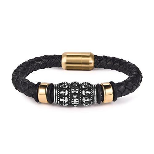 Jiayiqi Leather Bracelet mens bracelet black rope Skull 7.3''