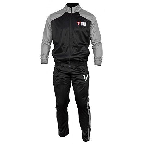 Title Boxing TITLE Super Poly Peak Warm-Up, Black/Grey, Large (Boxing Tracksuit)