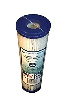 "WFD, WF-PE2020-BB 4.5""x20"" 20 Micron Pleated Sediment Water Filter Cartridge, Fits in 20"" Big Blue (BB) Housings of Whole House Filter Systems (20 Micron)"