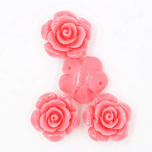 Calvas 10 pcs/lot Rose Flower Natural Stone Beads for Jewelry Making Coral Material DIY Bracelet Necklace Beads Accessories PJ0131 - (Color: Pink, Item Diameter: 15mm)