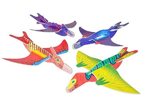 "Rhode Island Novelty Dinosaur Gliders Set (48 Pack), 7 1/2"""