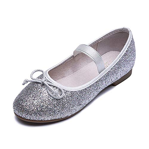 F-OXMY Little Girls Nice Sparkle Mary Jane Party Dress Shoes Bowknot Ballet Flat Shoes with Elastic Strap Silver