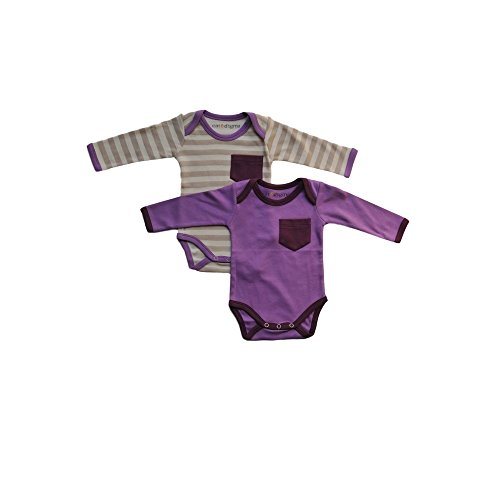 Cat & Dogma - Certified Organic Infant/Baby Clothes Lavender/Eggplant Bodysuit 2 Pack (12-18 (Halloween Bunny Makeup)