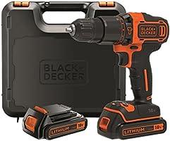 Black+Decker BDCHD18KB - Taladro percutor, 2 baterías 1.5 Ah y m