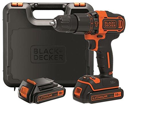 Black+Decker 2-Gang Akku-Schlagbohrschrauber BDCHD18KB / Schlagbohrmaschine mit 2-Gang-Vollmetallgetriebe & LED-Licht zum Schrauben, Bohren & Schlagbohren / 1 x Schlagbohrer Li-Ion 18 V + 2 Akkus