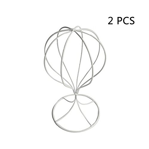 Frjjthchy 2 Pack Metal Freestanding Wire Ball Hat Rack Wig Holder Display Stand (White)