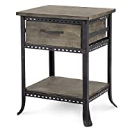 Industrial Rustic Reclaimed Wood Gray Accent End Side Table with Drawer & Bottom Shelf - Includes ModHaus Living Pen