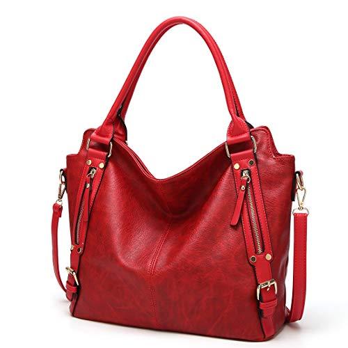 Agua para Gran Hombro la tamaño A4 de Capacidad decoración Mujer Red de Repelente Ajustable JANEFUJ 2way Viajero de de PU Cremallera Estudiante Bolsos Cuero Cubierta qt4WAH