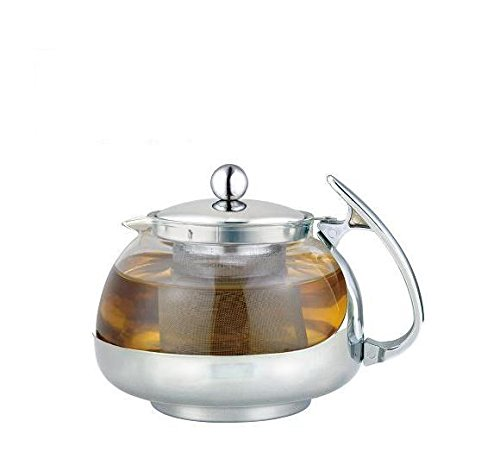 Stainless Steel Glass TEA POT Teapot w. Stainless steel Stra