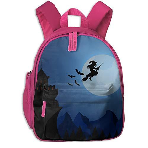 Halloween Witch Flying Under Dark Castle Double Zipper Waterproof Children Schoolbag With Front Pockets For Teens Boys Girl ()