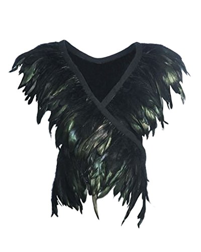 L'vow Real Black Feather Body Harness Tank Tops Halloween Party Costume (Black-003) -