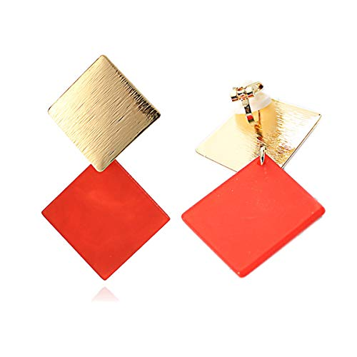 Clip on Earrings Diamond Shaped Dangle Square for Women Teen Girl Prom Banquet Wedding Red Gold Plated