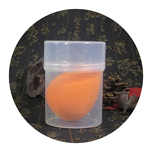 1pc Water Droplet Sponge Smooth Makeup sponge Powder Beauty Puff with Holder Box,orange with case
