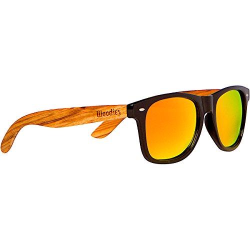 WOODIES Zebra Wood Wayfarer Sunglasses with Orange Mirror - Hut Orange Sunglass