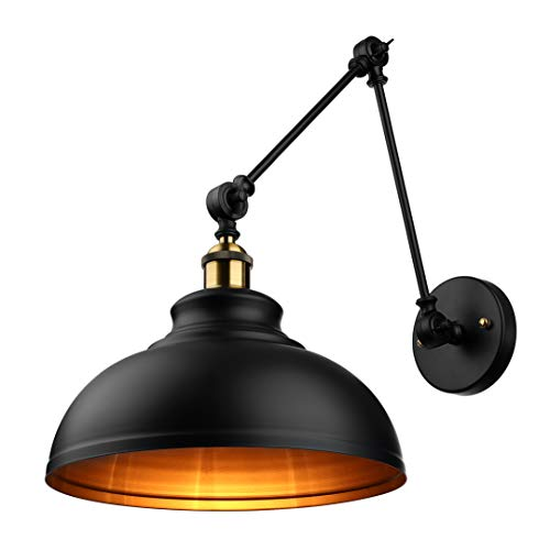 BAYCHEER Industrial Style Adjustable Swing arm Wall Light Lamp Wall Sconce with Dome Shade Loft Lamp use E26 Light Bulb Socket for Indoor Restaurant Barn, Black