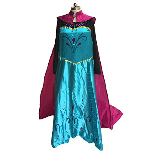 Mother Daughter Frozen Costumes (AE0 Adult Size Elsa Coronation Dress + Cape Halloween Costume Cosplay S-XXL USA (Medium))