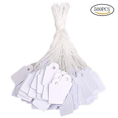 (Hugesavings 500 Pieces Jewelry Price Tags, Marking Tags Clothing Display Tag Paper Price Labels with White Hanging String, 23 x 14mm)