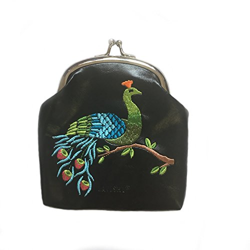 Peacock Embroidered Vegan Leather Kiss Lock Frame Coin Purse (Frame Black Handbags)