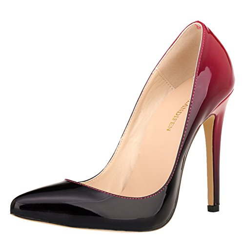 LOSLANDIFEN Women's Pionted Toe Double Color Pumps Slender Leather Stiletto High Heels Wedding Shoes(302-1shuangse39,Red)