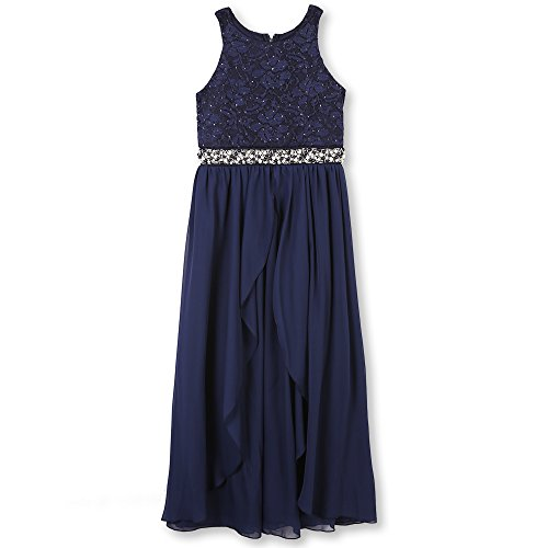 Speechless Girls' Big 7-16 Tween Cirlce-Neck Maxi Dress for Dances and Parties, New Navy, 16 -