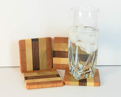 Hardwood drink coasters, cherry walnut maple, endgrain block, wood spacer, table saver, beverage holder, accent, decor, square cozy, slider (Square Maple Accent Table)