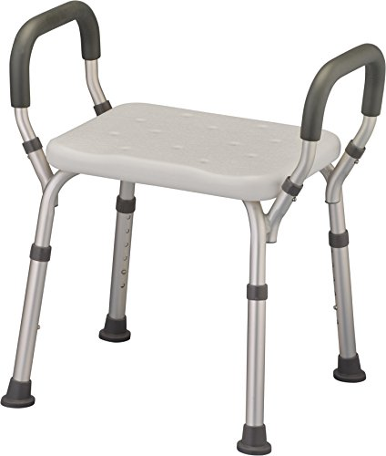 NOVA Shower & Bath Chair with Arms, Quick & Easy Tools Free Assembly, Lightweight & Seat Height Adjustable, Great for Travel ()