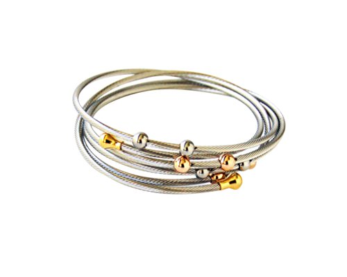 stainless-steel-wrap-bracelet-with-tri-color-gold-plated-ball-accents