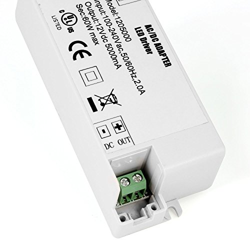 YAYZA! 4-Pack Premium IP44 12V 5A 60W Low Voltage LED Driver Transformer AC DC Switching Power Supply by YAYZA! (Image #3)