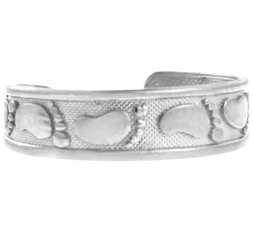 14k White Gold Footprints in the Sand Band Christian Toe Ring (Embossed)