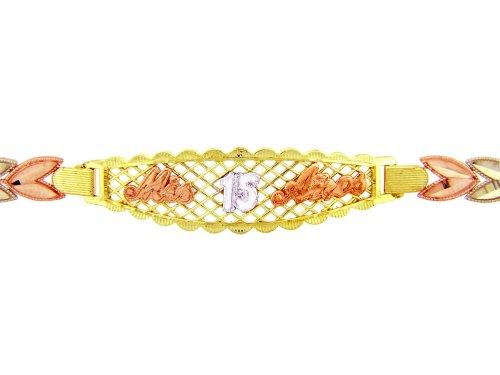 Petits Merveilles D'amour - 10 ct Troix Ton Or Bracelet - Mis 15 Anos Diamant Bracelet