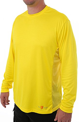 Sun Shield Men's Genesis Sun Protection Performance Fishing Shirt, Cool Long Sleeved Breathable T-Shirt, Yellow Large