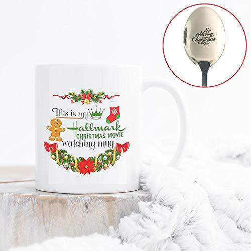 Christmas Coffee Mug, This Is My Hallmark Christmas Movie Watching Mug Tea Cup Ceramic Coffee Mug 11 Ounce