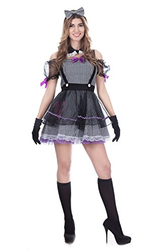 JJ-GOGO Day of Dead Costume - Halloween Womens Adult Sexy Dead Eye Dolly Costume