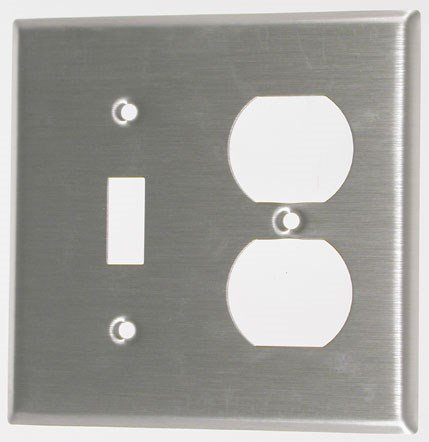 (Leviton 84005-40 2-Gang 1-Toggle 1-Duplex Device Combination Wallplate, Standard Size, Device Mount, Stainless Steel)