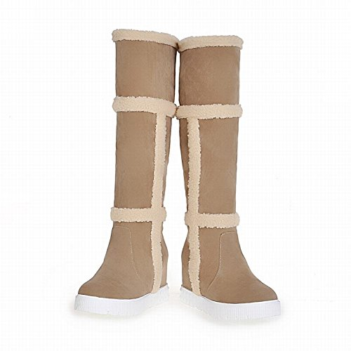 Carolbar Mujeres Faux Fur Elegancia Dulce Chic Warm Cute Wedge Heel Dress Botas De Nieve Beige