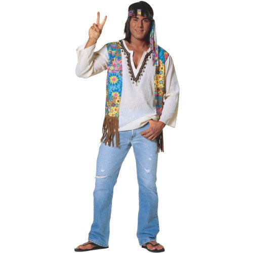 Costume Culture Men's Hippie Dude Costume, Multi, Standard (Hippie Dress Up)