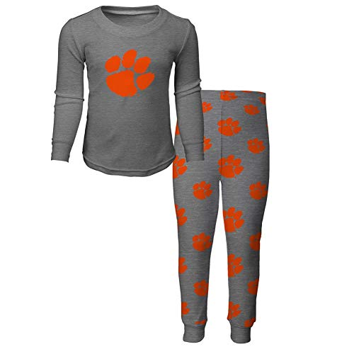 NCAA by Outerstuff NCAA Clemson Tigers Toddler Long Sleeve Tee & Pant Sleep Set, Heather Grey, 4T