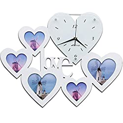 Ambiguity Wall Clocks, Heart-Shaped Love Photo Frame Clocks Bedroom Mute Quartz Wall Clock Mute Non-Ticking Easy to Read Home/Office / School Clock