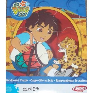 Nick Jr. Go Diego Go! Woodboard Puzzle - Diego with Drum and Baby Jaguar