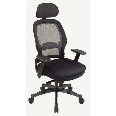 SPACE Collection: Deluxe Matrex Back Exec. Chair with Mesh Seat, Mesh 2-Way Adjustable Headrest and Metal Base - Exec Chair