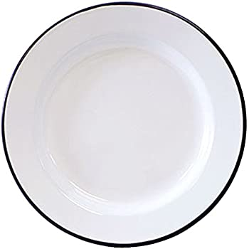 Crow Canyon Enamelware   Dinner Plate  Solid White With Black Rim
