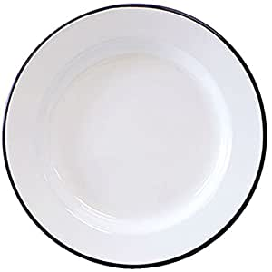 Crow Canyon Enamelware - Dinner Plate -Solid White with Black Rim  sc 1 st  Amazon.com & Amazon.com   Crow Canyon Enamelware - Dinner Plate -Solid White with ...
